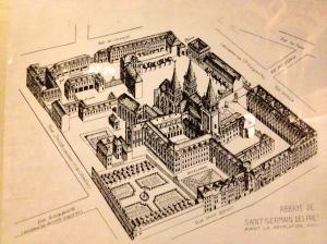 Old plan of St Germain des Pres. Source: taken by self.